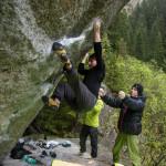 Es spricht sich herum, dass der Boulderblock trocken ist...
